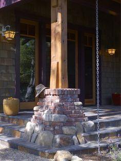 River Rock & Clinker Brick Column Base at a Contemporary Craftsman in Palo Alto - James Witt Homes