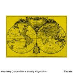 World Map (1775) Yellow & Black Poster