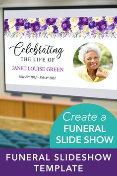 Make a celebration of life slideshow presentation to share your loved one's memories and photos with friends and family. Easy to use PowerPoint template, simply add photos and text and show at the Celebration of Life Service or wake. #FuneralSlideShow #FuneralTemplate #Funeral SlideshowTemplate #CelebrationofLife #MemorialTemplate #FuneralPoster #FuneralPowerPoint #FuneralPowerPointPresentation Funeral Posters, Slideshow Presentation, Life Quotes, Funny Quotes, Nutrition Quotes, Funeral Memorial, Life Poster, Prayer Cards, The Life