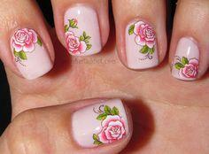 Polish Art Addict Pink Fl Water Decals
