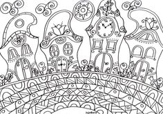 Meseutca manóházakkal Colouring Pages, Adult Coloring Pages, Coloring Books, Hungarian Embroidery, Hand Embroidery, Fairy Houses, Big Kids, Wonderland, Applique