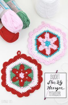 Flamingo Toes: Crochet Star Lily Hexagon Potholder - Free Pattern.