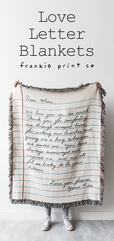 love letters Give a thoughtful and personalized gift to your most loved ones! Write a note, and well weave it into a cozy blanket. You can even write it in your own handwriting if you choose. Quirky Gifts, Love Gifts, Diy Gifts, Unique Gifts, Best Gifts, Parent Gifts, Roommate Gifts, Love Letters, Creative Gifts