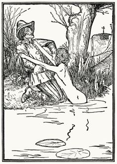 The huntsman and the fairy.  Robert Anning Bell, from Grimm's household tales, London, 1912.  (Source: archive.org)
