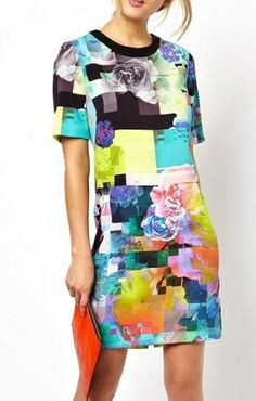 Chic and Stylish Vintage Floral Short Sleeves Color Block Dress #chic #stylish #colorful #fashion