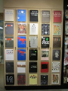 T-shirt display a the Phoenix Art Museum store. Shop Window Displays, Store Displays, Retail Displays, Booth Displays, Phoenix Art Museum, Frame Display, Display Stands, Display Ideas, Clothing Displays