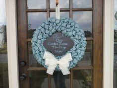 personalized ITS A BOY blue burlap wreath by SewCrazy11 on Etsy, $48.00