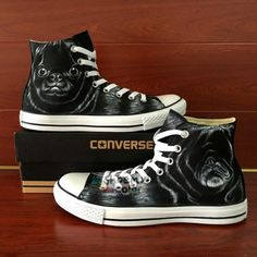 Unique Gifts Men Converse Dog Pug Hand Painted High Top Canvas Sneaker