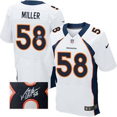 Von Miller Elite Jersey-80%OFF Nike Autographed Von Miller Elite Jersey at Broncos Shop. (Elite Nike Men's Von Miller White Jersey) Denver Broncos Road #58 NFL Autographed Easy Returns.