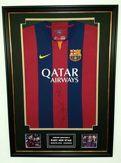 RARE Lionel Messi, NEYMAR and Luis Suarez OF Barcelona SIGNED Shirt Display: Amazon.co.uk: Sports & Outdoors