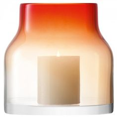 Loft vase/lantern - This bottle-shaped vase/lantern is mouthblown from layers of clear and red glass.