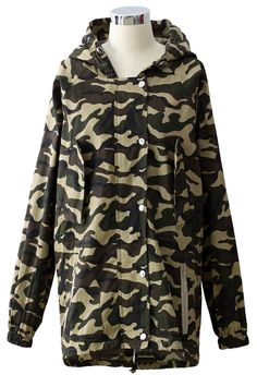 Camouflage Military Hooded Jacket - Tops - Retro, Indie and Unique Fashion