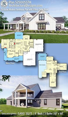 House Plan 525005STH gives you 3,400  square feet of living space with 4  bedrooms and 3 baths. AD House Plan #525005STH #adhouseplans #architecturaldesigns #houseplans #homeplans #floorplans #homeplan #floorplan #floorplans #houseplan #countryfarmhouse #farmhousedesign #modernfarmhouse #farmhouseplans #4bedfarmhouse Modern Farmhouse Plans, Modern House Plans, Farmhouse Design, Barn House Plans, Craftsman House Plans, Home Design Diy, Beautiful Home Designs, American Houses, Architecture Plan