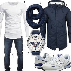 Blaues Outfit mit weißem Longsleeve und New Balance Sneakern - outfits4you.de
