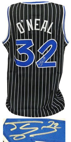 0495141dfc8 Shaquille O Neal Signed Black Pinstripe Throwback Custom Basketball Jersey  (ONEJRY201)