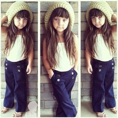 I want these pants for Bella! Super cute outfits! She WILL have her hair this long.