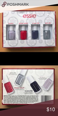 "NWT Essie Set  This set of Mini Essie nail polishes are so perfect. A different color for every mood . This set includes ""go ginza"" ""altitude attitude"" ""no more film"" and my fav ""aprés chic"". Remember to bundle and save. Offers are seriously considered I try to be fair to my fellow Poshers  Essie Makeup"
