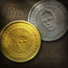 Create a Metal Coin in Photoshop - Photoshop tutorial by PSDDude. found at http://www.psd-dude.com/tutorials/photoshop.aspx?t=create-a-metal-coin-in-photoshop