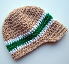 Baby/Infant/Toddler/Boys Crochet Visor BeanieTan Kelly by Karenisa, $24.00