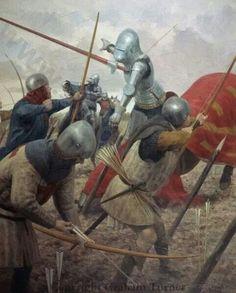 English archers winning the war at Agincourt.