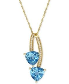 Blue Topaz (2-9/10 ct. t.w.) & Diamond Accent Pendant Necklace in 14k Gold - Blue