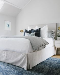 Blue and White Bedding. photo by @studio_o_interiors