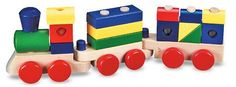 Melissa & Doug Stacking Train by Melissa and Doug. $16.58. Made of solid wood. Recommended Age Range 2 Years and up. Comes with interchangeable pieces. From the Manufacturer                The solidly built engine and multicolored freight cars have sturdy pegs for linking the cars and stacking the cargo blocks.  Includes 15 interchangeable pieces.                                    Product Description                Melissa & Doug Stacking Train