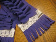 Purple Ruffled Fleece Scarf by AOhCaye on Etsy, $15.00