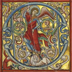 Saint Michael and the Dragon in an initial Q by an Unkown master German, Würzburg, about 1240 - 50 Getty Museum Medieval Manuscript, Medieval Art, Catholic Art, Religious Art, Illuminated Letters, Illuminated Manuscript, Calligraphy Pen Set, Illumination Art, Getty Museum