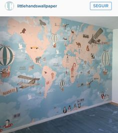 Wall decal world map interactive map wall sticker room decor map applied wallpaper little hands gumiabroncs Image collections