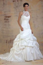 Venus wedding dress/gown- white mermaid style wedding dress with ruched skirt, illusion halter and sweetheart neckline. For the Bride Boutique Ft. Myers, Florida