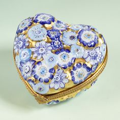 Limoges Chamart gold heart with blue flowers box