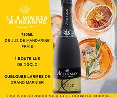 Retrouvez notre recette du Cocktail Mimosa, composée de vin pétillant et de jus de mandarine. Une variation proposée avec la cuvée XGold. Grand Marnier, Loire, Cleaning Supplies, Cocktails, Soap, Bottle, Juice, Recipe, Sparkling Wine