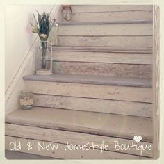My beachcottage staircase painted with chalk paint  decoupaged with wood effect wallpaper ❤️