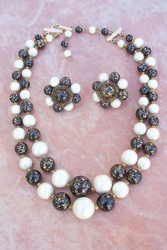 Vintage-Beaded-Necklace-and-Earring-Demi-Parure-Signed-JAPAN-60s-Jewelry