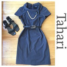 "Tahari Dress. Timeless Chic. Tahari Dress. Timeless Chic. 17 1/2"" between under arms. 28"" waist. 38"" hip. 37 1/2"" shoulder to hem. Very good condition. Dark gray color. Gorgeous. Bundle with one of my Jewelry sets and get 35% off. Tahari Dresses"