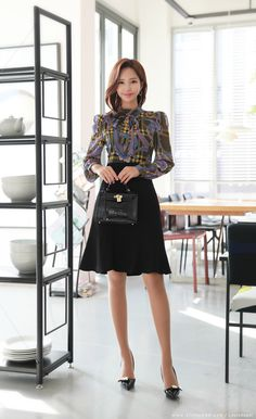 Korean Women`s Fashion Shopping Mall, Styleonme. Korean Girl Fashion, Asian Fashion, Curvy Fashion, Office Outfits Women, Professional Wardrobe, Korean Dress, Elegant Outfit, Tie Dress, Korean Women