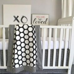 Baby Girl Black & White Polka Dot Nursery Ideas: check out this black and white big dot baby bedding set! Loving the big modern print and the polka dots with the stripe accent. Could work for a baby girl OR boy. Baby Girl Bedding, Baby Bedding Sets, Baby Boy Rooms, Polka Dot Nursery, Yellow Nursery, Nursery Room, Girl Nursery, Nursery Ideas, Room Ideas