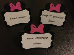 5 Minnie Mouse Party Place Cards/ Food Labels/ by PartyBlueprint, $2.99