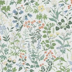 Josef Frank, Grey And Green Wallpaper, Green And Grey, Wallpaper Paste, Pattern Wallpaper, Nordic Design, Scandinavian Design, Herringbone Wallpaper, Garden Mural