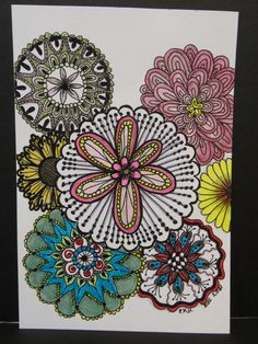 For This Piece I Lightly Traced Some Circle Shapes In Pencil And Then Drew The Tangle Flower Patterns With My Micron 01 Pen