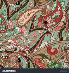 Beautiful Green Paisley Seamless Background Stock Vector ...