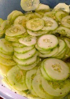 Keeping it Classy Always: Grandma's Cucumbers Cucumber Onion Salad, Cucumber Recipes, Vegetable Recipes, Salad Recipes, Cucumber Chips, Cucumber Salad Vinegar, Vinegar Cucumbers, Marinated Cucumbers, Cucumbers And Onions