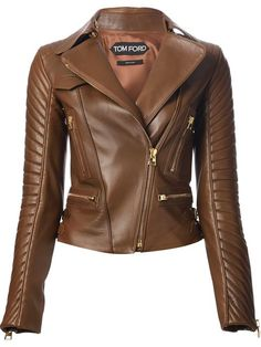 Lyst - Tom Ford Wide Collar Biker Jacket in Brown Tom Ford Leather Jacket, Leather Jacket For Girls, Tom Ford Jacket, Leather Jacket Outfits, Leather Jackets, Moto Jacket, Ashley Clothes, Coats For Women, Jackets For Women