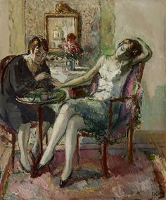 'At the manicurist', Jean Louis Marcel Cosson. (1878 - 1956)