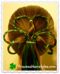 St. Patricks Day Hairstyles, Shamrock With Ribbon - Princess Hairstyles | Braids and Hair Style tutorials
