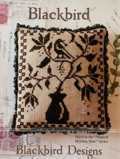 """The third pattern in the """"Magical Mystery Tour Series"""" from Blackbird Designs is stitched with Gentle Art Sampler threads (Expresso Bean)."""