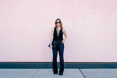 topshop lace up black bodysuit and joe's jeans flare denim