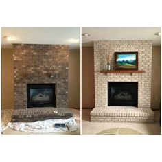 Fireplace color ideas grey brick makeover for paint wall colour id . brick fireplace remodel ideas for makeover Brick Fireplace Remodel, White Wash Brick Fireplace, Painted Brick Fireplaces, Fireplace Update, Paint Fireplace, Brick Fireplace Makeover, Home Fireplace, Fireplace Design, Fireplace Ideas