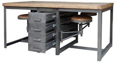 Terran Work Table-Rustic Blk/Bp - Autumn-Elle Design